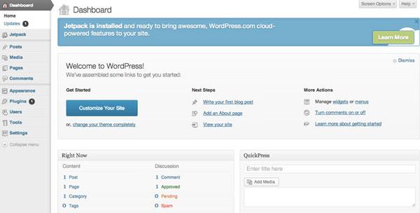 לוח הבקרה של וורדפרס (WordPress)
